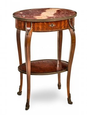 An Oval Marble And Parquetry Two Tier Table With Gilt