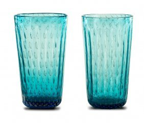 A Pair Of Gold Speckled Blue Murano Glass Vases,
