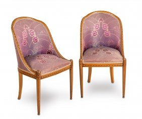 A Pair Of Art Deco Carved Walnut Salon Chairs French