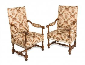 A Pair Of Good Quality Walnut Armchairs French 19th