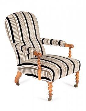A Fine Quality Victorian Walnut Armchair, With Barley