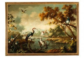 European School,landscape With Exotic Birds, Oil On