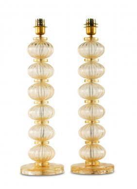 A Pair Of Murano Glass Gilt Speckled Table Lamps