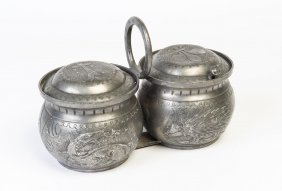 An Embossed Pewter Twin Preserve Pot French 18/19th