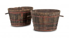 A Pair Of Coopered Oak And Red Painted Metal Oval Twin