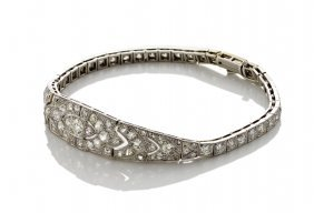 An Art Deco Diamond Bracelet, The Pierced And Tapered