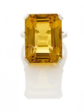 A Citrine Cocktail Ring, Four Claw Set With A