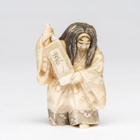An Ivory Netsuke Of A Noh Theatre Actor With Revolving