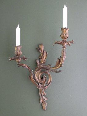 A Pair Of French Gilt Bronze Acanthus Moulded