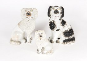 A Collection Of Five Staffordshire Dogs, English, 19th