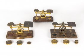 Three Sets Of Brass Postage And Gold Scales And