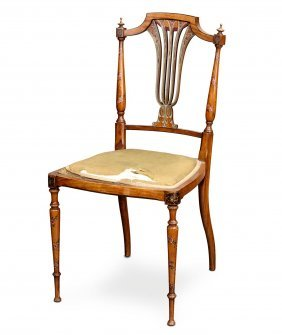 An Edwardian Painted Satin Wood Salon Chair