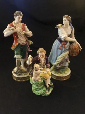 A Pair Of Volkstedt Porcelain Figures Of A Young Boy