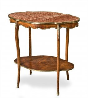 A Louis Xv Style Gilt Brass Mounted Marble Top Two Tier