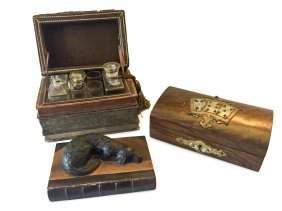A Victorian Brass Mounted Walnut Playing Card Box, A