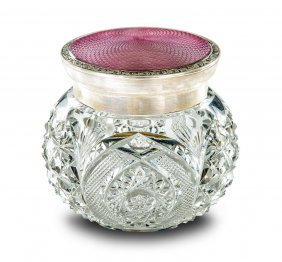 A George V Sterling Silver And Pink Enamel Topped Glass