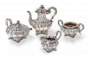 A William Iv Sterling Silver Four Piece Tea And Coffee