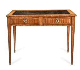 A Louis Xvi Walnut Marquetry Leather Topped Bureau Plat