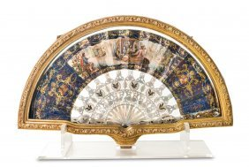 A Finely Painted And Gilded Mother Of Pearl Fan,