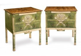 A Pair Of French Empire Style Painted Commode With Faux
