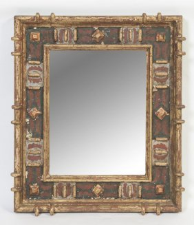 A Pair Of Spanish Painted And Gilt Mirrors, 19th