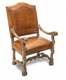 A Louis Xv Style White Painted Fauteuil With Bold