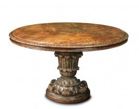 A Circular Marble Topped Carved Silvered Pedestal Table