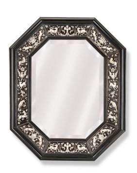 A Fine Ivory Inlaid Octagonal Ebony Mirror, Probably