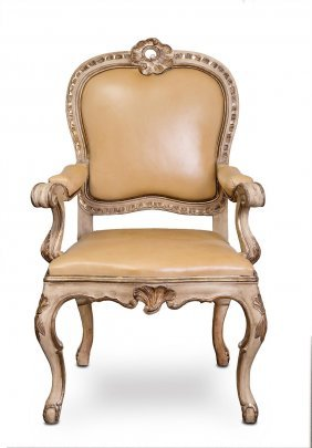 A Venetian Style Painted And Gilt Leather Upholstered