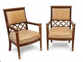 A Set Of Twelve Biedermeier Style Gilded Leather