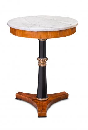 An Italian Marble Top And Ebonised Mahogany Tabouret