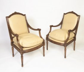 A Pair Of Louis Xv Style Carved Wood Fauteuils With Tan