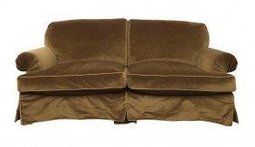 A Large Coffee Velvet Upholstered Velvet Settee, 20th