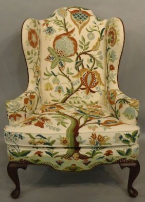 QUEEN ANNE STYLE WING CHAIR WITH CREWEL EMBROIDERY