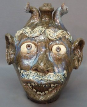 "W.A. FLOWERS, N.C. POTTERY FACE JUG 16 1/2"" TALL"