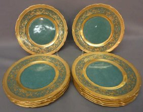SET 12 ROYAL DOULTON GILT DECORATED PLATES