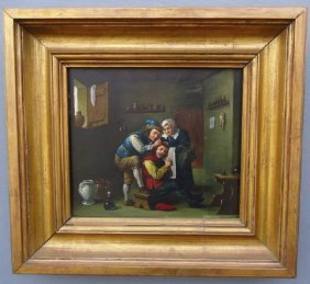 EUROPEAN OIL PAINTING ON WOOD PANEL GENRE DEPICTION