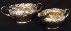 STERLING SILVER REPOUSSE CREAMER AND SUGAR BOWL
