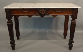 ENGLISH OAK LIBRARY TABLE WITH LION'S HEAD CARVING