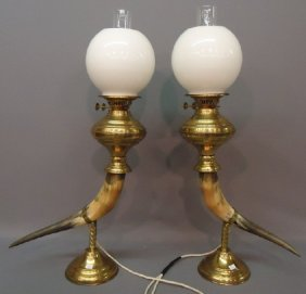 PAIR OF DECORATIVE LAMPS WITH STEER HORNS