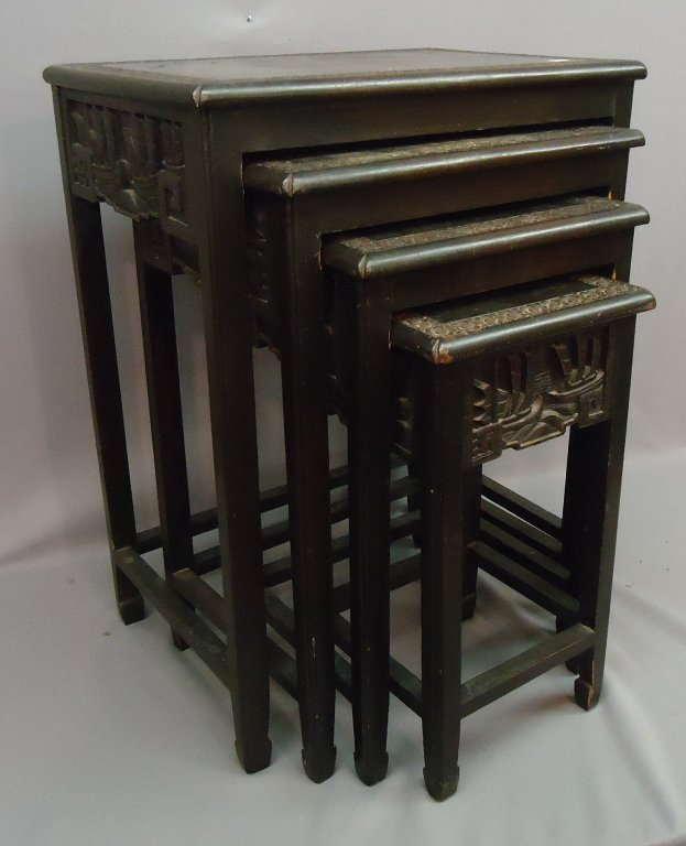 Set of chinese carved nesting tables lot
