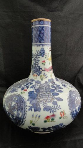 Large 19th Century Chinese Export Fitzhugh Vase