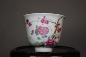 18th Century Famille-Rose Enameled Small Cup DA QIN