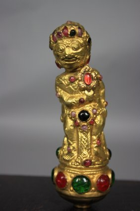 Old Sino Tibetan 18K Gold Gilt Sculpture Jeweled H