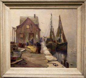 "Otis Cook , "" Harbor Scene"""
