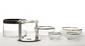 Secessionist Style Chrome And Brass Caviar Serving