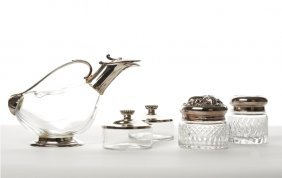 Four Assorted Silver Lidded Accessories