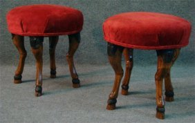 Two Upholstered Stools With Hoof Feet