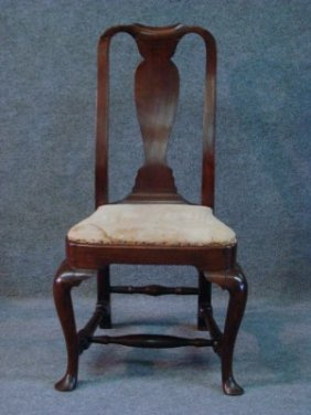 Boston Queen Anne Mahogany Chair With Compass Seat