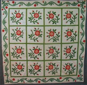 New York State Hand Stitched, Appliqued Flower Quilt